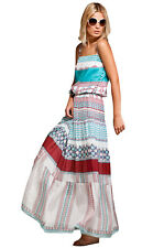 New ISSA London Mumbai Long Tank Dress Silk Heart Print 10 $550