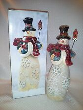 Ceramic & Resin SNOWMAN w Birdhouse  IN BOX w Snowflakes J C Penny Home CUTE!