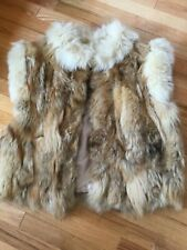 Vintage FOX COYOTE FUR VEST, Zipper Front, Side Pockets M/L Multicolor