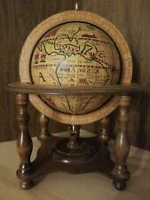 Vintage Wood Antique Olde World Desk Globe with Zodiac Stand