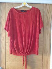 Ladies Dorothy Perkins Deep Red Crinkle Tie Bottom Top Size 18
