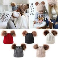 Winter Hat Kids Boys Girls Knitted Beanie Thick Baby Cute Double Pompon Caps