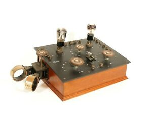 1923 Scott-Taggart TSF Style Crystal Radio w/Plug-In Coils & Exposed Tubes