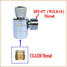 New CO2 Fill Adapters On/Off for CGA320 tank with DIN 477/ W21.8-14 Outer Thread
