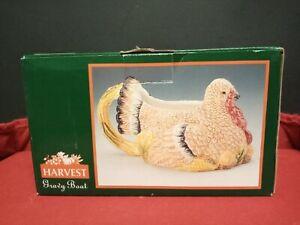 Vintage Kohls Painted Ceramic Harvest Turkey Gravy Boat NIP