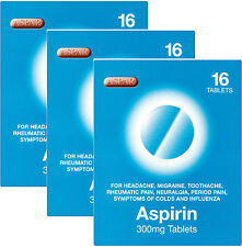 Aspar Aspirin 300mg Tablets 16 Pack X3 TRIPLE PACK - For Headaches, Migraine