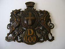 Antiguo tschako-casco-emblema gran bretaña de 1869 londres domine dirige a nos