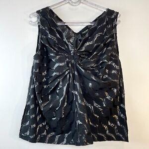 Rachel Comey Size 0 (AU 8) Black Singlet Top Twist Luxury US Designer Made NY