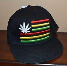 RASTA FLAG 3-D Pot Leaf Snapback Flatbill Asjustable Hat One Size Fits Most