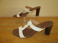 SALVATORE FERRAGAMO Womens White Leather T-Bar Heeled Sandals UK 5.5 US 8.5 C