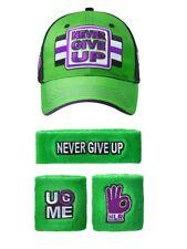 John Cena WWE Never Give Up Green Purple Baseball Hat Headband Wristband Set