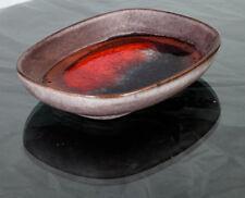 Mid Century Modern Ceramic Karlsruhe Majolika Bowl German Red Grey Studio