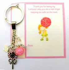 Funny Thank You Gift School Crossing Assistant Lollipop Lady Keyring +Gift Card