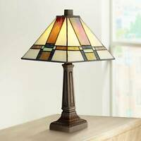 """Tiffany Style Accent Table Lamp 14 1/4"""" LED Stained Glass for Bedroom Office"""