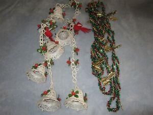 Bell & Poinsetta Christmas Beaded Leaf Garlands