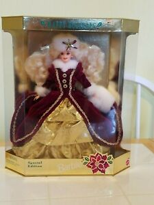 1996 Happy Holiday Barbie Doll Special Edition  Maroon Dress Christmas in Box