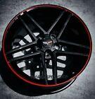 Gloss Black Z06 W Red Lip Corvette Wheels Fits 1997-2004 C5 Z06 1718