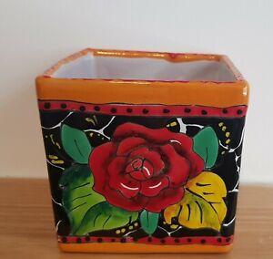 Talavera style hand made mexican pottery, square Pots ,Planter pot,