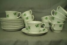 Arabia crown made in Finland china 11 teacup & saucer sets white green flower