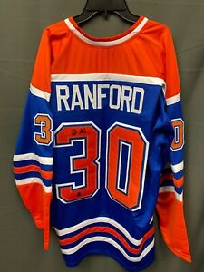 Bill Ranford #30 Signed Edmonton Oilers Hockey Jersey Autographed AUTO COA Sz XL