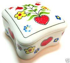 HEARTS & FLOWERS Vintage Ceramic Trinket Box w/Lid Takahashi San Francisco 1980