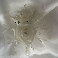 Wedding Corsages Ivory & Lilac Artificial Roses With Pearls Ribbon SusylouBridal