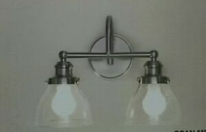 NEW!!  HAMPTON BAY Albona 2-Light Brushed Nickel Vanity Light with Clear Seeded
