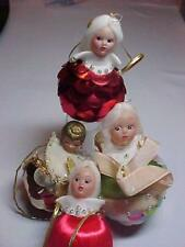 4 Vintage Angel Heads on Satin Beads Sequins Handmade Fauxberge Xmas Ornaments