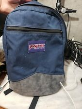 Jansport Navy Blue Backpack Bookbag with grey Leather Bottom Vintage