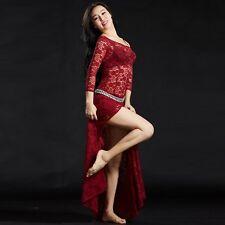 SF5116# Belly Dance Costume Side Split Lace Dress 6 Colors