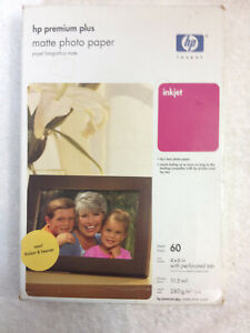 60 Sheet Pack HP Q2506A Matte 4x6 Premium Plus Inkjet Photo Paper perforated