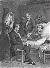 LE DUC d'ORLÉANS sur son LIT de MORT (fils de Louis-Philippe) - Gravure du 19e s
