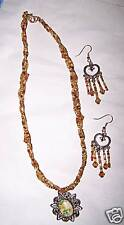 Vintage look Trendy Retro Gold/BrownChoker Necklace-Earring Set