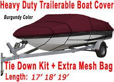 V-Hull Fish Ski I/O 17' 18' 19' Boat Trailerable Cover Burgundy Color FT B2558R