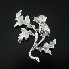 32136 Antiqued Style Silvery Tone Alloy Thistle Charms Jewelry 47*32*2mm 20PCS