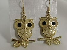 Sexy Women Earrings Set Adorable Gold Metal Owl Birds Fashion Black Rhinestones