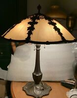 Large Bradley & Hubbard Caramel Ribbed Slag Glass Lamp W Grape Leaf/Vine Overlay