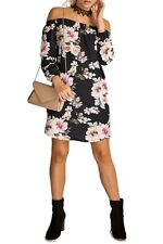 UK Womens Off The Shoulder Floral Mini Dress Ladies Summer Beach Party Sundress