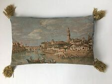 Vintage Tapestry Venice Scene Throw Pillow w Tassels