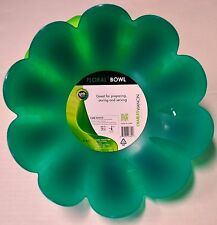 "Charles Viancin 10.5"" Large Dark Green Salad Fluted Floral Silicone Serving Bowl"