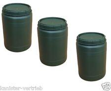 3 x 60 L grün Weithalstonne Weithalsfass Fass mit Drehdeckel Box Tonne NEU