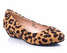 Leopard Office Lady Fashion Wedges Platforms Womens Casual Low Heels Shoes