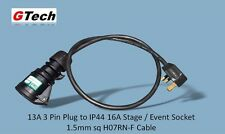 1m All Black 13A Plug to 16A IP44 Socket - 1.5mm H07RN-F Cable - EVENT/STAGE