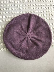 100% cashmere mauve/purple beret hat, one size