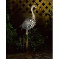 Solar Powered LED Heron Silhouette Outdoor Long Legged Bird Statue Light Up