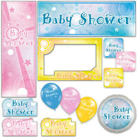 Boy Girl Unisex New Baby Shower Banners Decorations Balloons Party Supplies