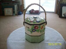 Hotta Yu Shoten & Co.Vintage  Hand Painted Biscuit Jar With Wicker Handle Japan