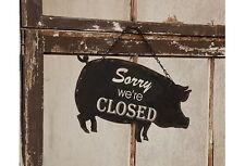 Open Closed Metal Hanging Pig Sign Vintage Farmhouse Style