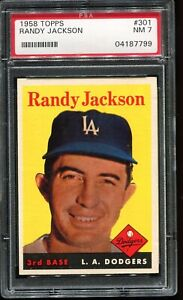1958 Topps Baseball #301 RANDY JACKSON Los Angeles Dodgers PSA 7 NM