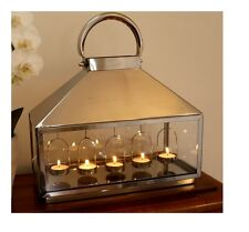 ANTIQUE POLISHED STAINLESS STEEL LANTERN GARDEN 5 CANDLE TeaLight HOLDER 35H